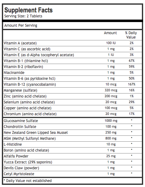 joint formula 1 ingredients